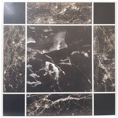 Black/ Gold Marble Effect FLOOR TILES PACK OF 1 (4 TILES)