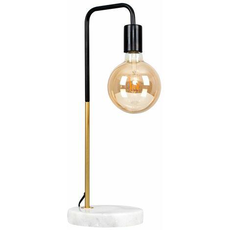 Black & Gold Metal Table Lamp + White Marble + 6W LED Filament Giant Globe Light Bulb - Warm White - Gold
