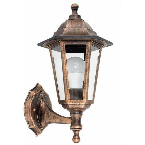Black Gold Outdoor Security Ip44 Wall Light Lantern + 6W LED Es E27 Bulb - Gold