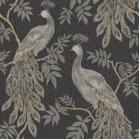 Black Gold Peacock Bird Wallpaper Metallic Tree Animal Paste Wall Vinyl Arthouse