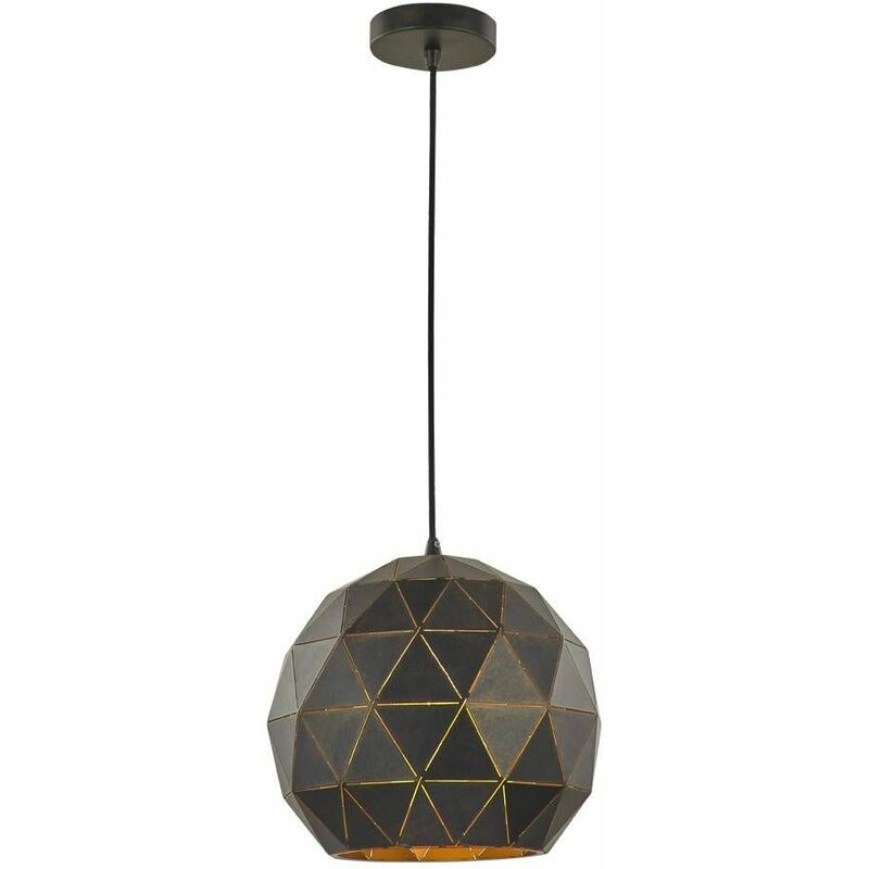 Image of Black / gold pendant Tangent 1 Bulb Diameter 30 Cm