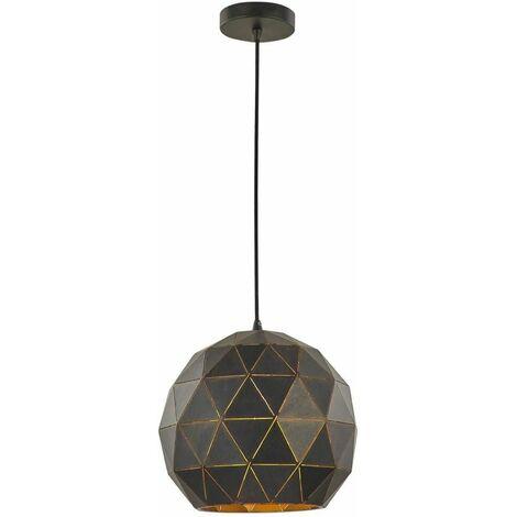 Black / gold pendant Tangent 1 Bulb Diameter 30 Cm