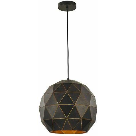 Black / gold pendant Tangent 1 Bulb Diameter 35 Cm