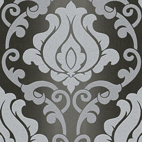 Black Grey Damask Glitter Wallpaper Sparkle Textured Vinyl Washable A.S Creation