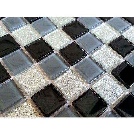 Black Grey Glitter Silver Glass Wall Border Splashback Mosaic Tiles MT0014