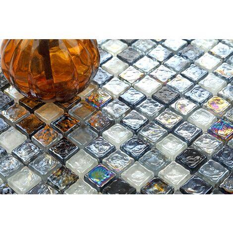 Black Grey Shades Hammered Swirl Gl Mosaic Wall Tiles Mt0051