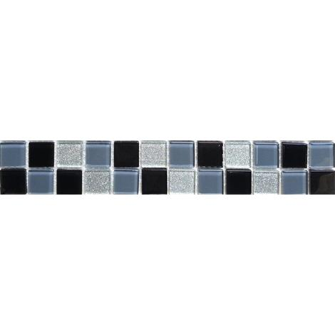 Black Grey & Silver Glitter Glass Mosaic Wall Tiles Strips Border Strip MB0014