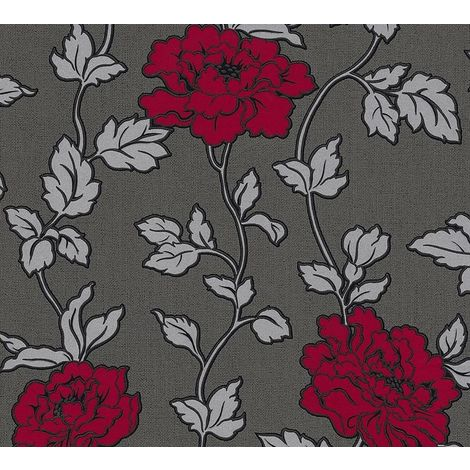 Black Grey Silver Red Floral Trail Wallpaper Glitter Shimmer Vinyl Textured