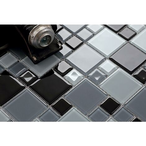 Black Grey White Glass Modular Random Mix Walls Borders Mosaic Tile MT0012