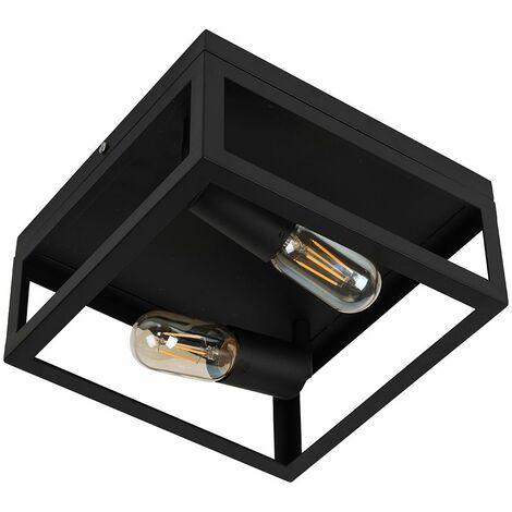 Black Industrial Box Style Ceiling Light Filament Bulb - No Bulb - Black