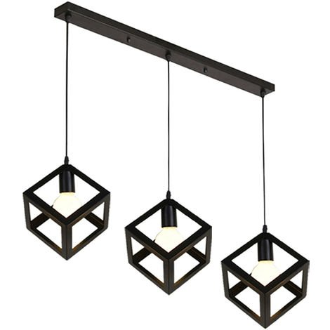 Black Industrial Chandelier Retro Cube Style Light Fixture 3 Lights Pendant Lights Creative Ceiling Light for Bar Kitchen Indoor Decoration