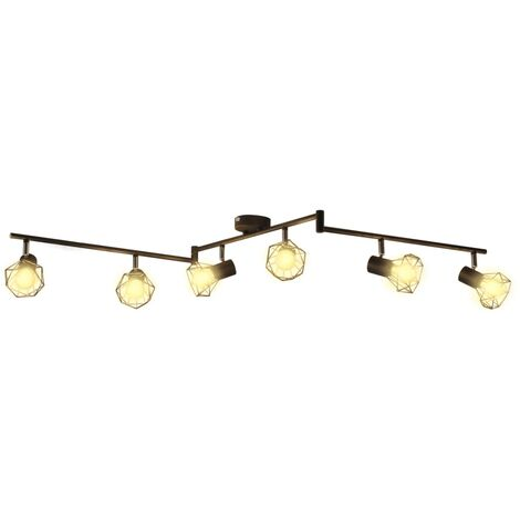 Black Industrial Style Wire Frame Spot Light with 6 LED Filament Bulbs