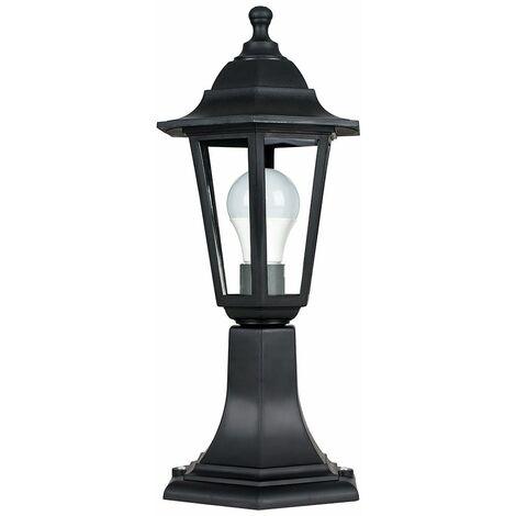 Black Ip44 Outdoor Lamp Post Lantern Light - 15W LED Gls Bulb Cool White - Black