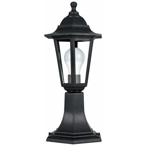 Black IP44 Outdoor Lamp Post Lantern Light + 6W LED GLS Bulb - No Bulb - Black