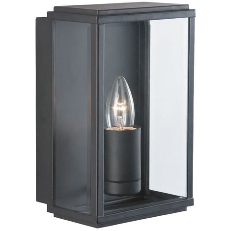 Black Ip44 Rectangular Outdoor Wall Lights (pack Of 6)