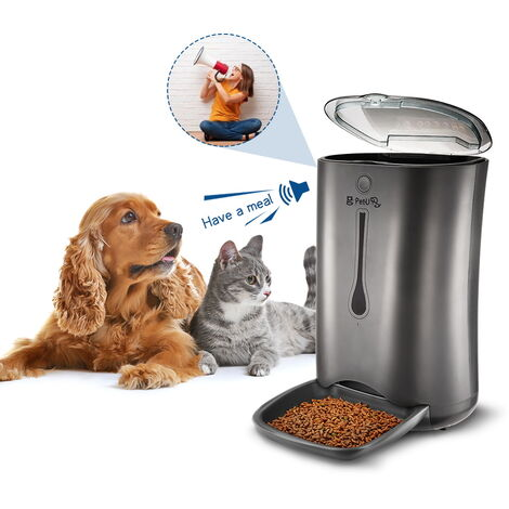 Black LCD Automatic Pet Feeder Food Dispenser Plastic Dog Cat Feeder