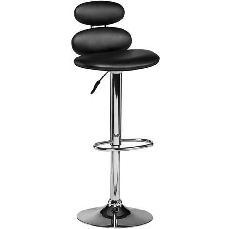 Black Leather Effect Adjustable Bar Chair Chrome Finish Base