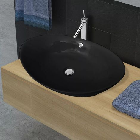 Black Luxury Ceramic Basin Oval with Overflow 59 x 38,5 cm