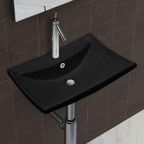 Black Luxury Ceramic Basin Rectangular with Overflow & Faucet Hole