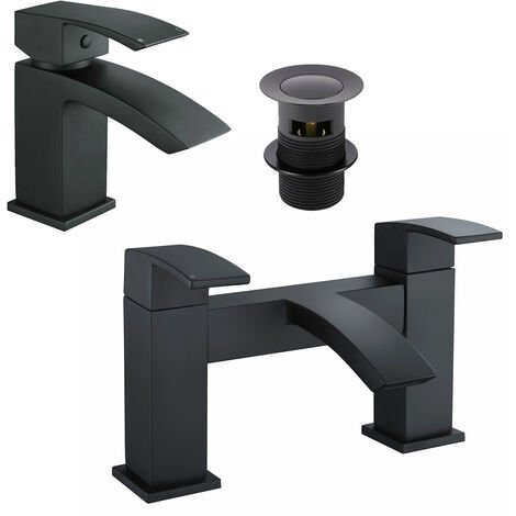 Black Matt Basin Sink Bathroom Luxury Waterfall & Bath Filler Tap Set