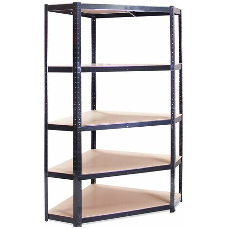 Black Metal 5 Tier Corner Racking Storage 180x90x30cm