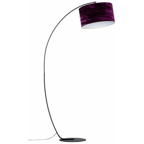 Black Metal Arched Floor Lamp + Purple Velvet Shade - 6W LED Gls Bulb Warm White