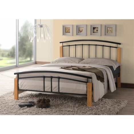 Black Metal & Beech Bed Frame - King Size 5ft - Free Next Day Delivery*