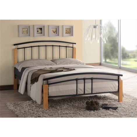 Black Metal & Beech Bed Frame - Single 3ft