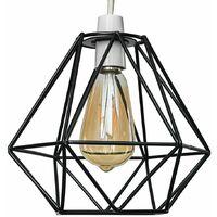 Black Metal Cage Ceiling Pendant Light Shade - 4w LED Filament Bulb 2700K Warm White