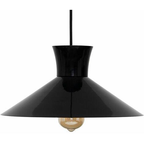 Black Metal Ceiling Pendant Light Shade + 4W LED Filament Bulb Warm White