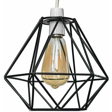 Black Metal Ceiling Pendant Light Shade - 4W LED Filament Bulb Warm White