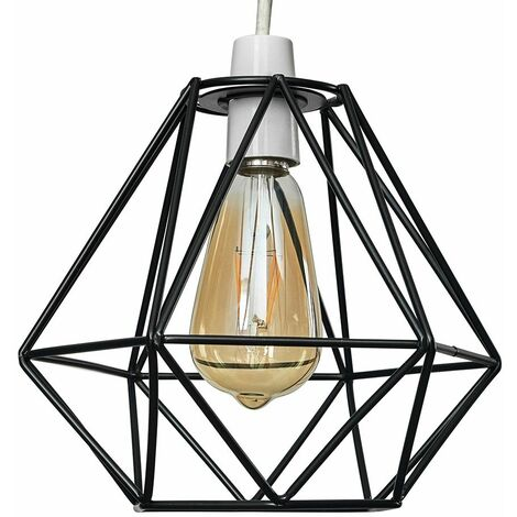 Black Metal Ceiling Pendant Light Shade - 4W LED Filament Bulb Warm White - Black