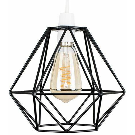 Black Metal Ceiling Pendant Light Shade - 4W LED Helix Filament Bulb 2200K Warm White
