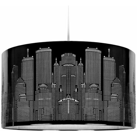 Black Metal New York Skyline Ceiling Pendant Light Shade Lampshade