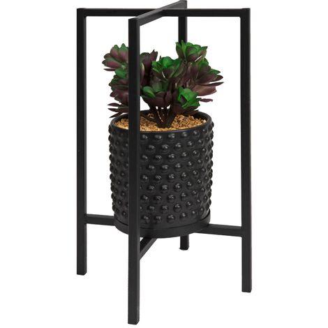 Black Metal Planter with Artificial Plant 36cm