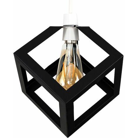 Black Metal Puzzle Cube Ceiling Pendant Light Shade + 4W LED Amber Filament Bulb - Warm White