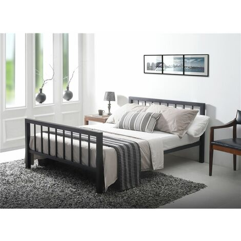 Black Micro Slatted Metal Bed Frame - King Size 5ft