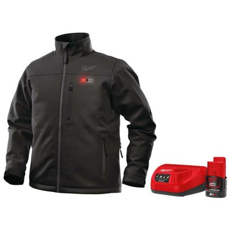 Black Milwaukee M12 Heater Jacket HJ BL3-0 size S 4933451586 - M12 2.0Ah Battery and Charger C12C 4933451900