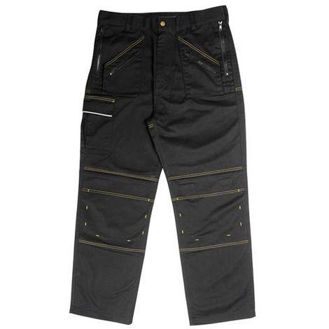 Black Multi Zip Work Trousers
