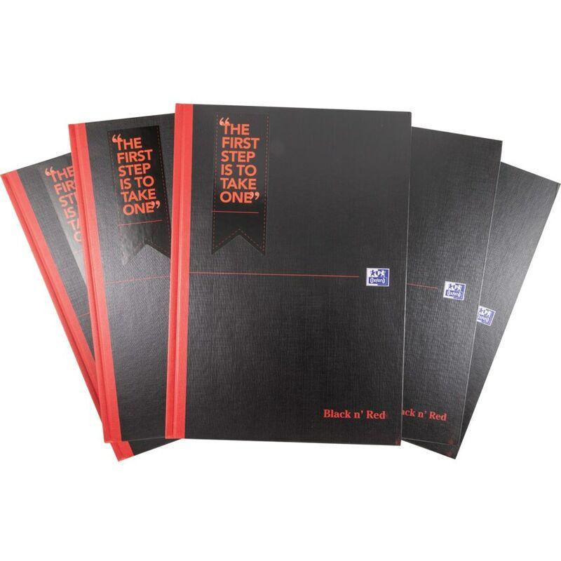 Image of Black N' Red A4 Feint Case Book D66174 (Pack-5) - Black N Red