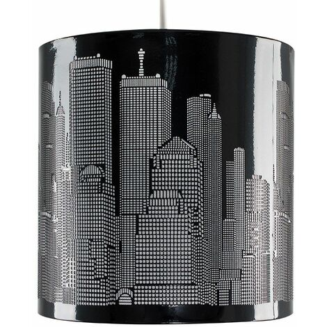 Black New York City Skyline Ceiling Pendant Light Lampshade Lamp Shade New