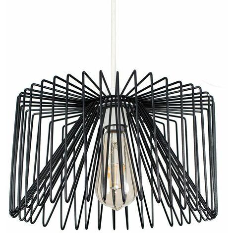Black Non Electric Metal Wire Light Pendant Shade 4W LED Filament Bulb - Warm White