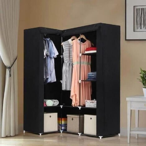 Black Non-woven Corner Wardrobe Cupboard Clothes Hanging Rail Storage Shelves 129 x 87 x 169cm
