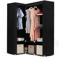Black Non-woven Corner Wardrobe Cupboard Clothes Hanging Rail Storage Shelves 129 x 87 x 169cm LSF42H