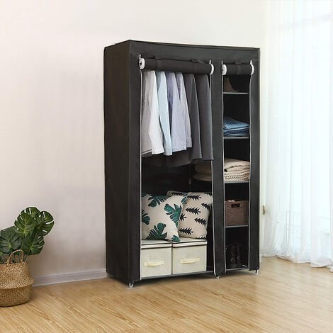Black Non Woven Fabric 5 Door Shoe Rack Simple Wardrobe 172 * 105 * 43cm