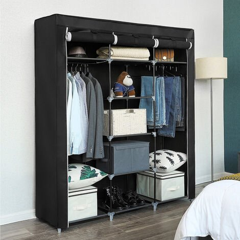 Black non-woven three-door wardrobe with hangers on both sides 175 * 150 * 45cm