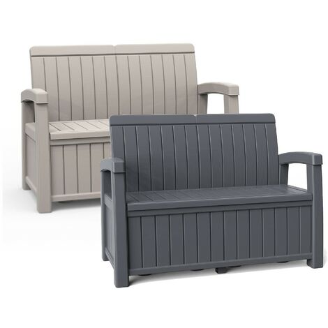 Black Outdoor 2-Seater Garden Storage Bench Cushion Box Chest Patio Seating