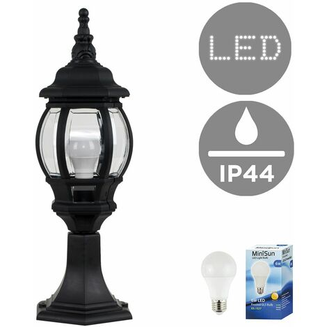 Black Outdoor Garden Lantern Lamp Post Light - IP44 + 6w LED ES E27 Bulb