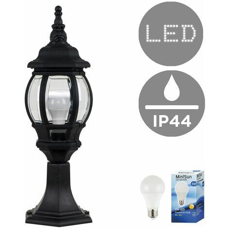 Black Outdoor Garden Lantern Lamp Post Light - Ip44 + 6W LED Es E27 Bulb - Black
