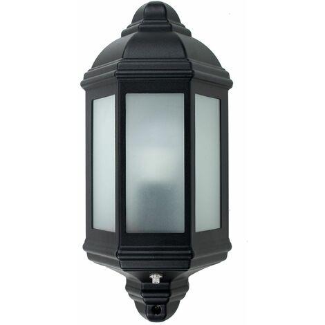 Black Outdoor Porch Wall Flush Ip44 Lantern + Dusk To Dawn Sensor